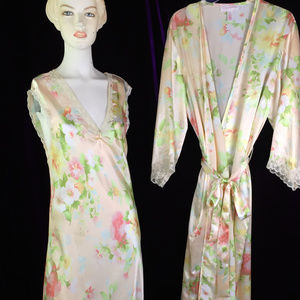 Robe Slip Set Floral 30s Styl Old Hollywood
